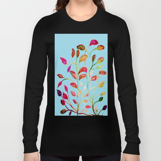 Red and Green Leaves on Light Blue Long Sleeve T-shirt