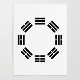 Black Hexagon I ching Feng Philosophy Poster