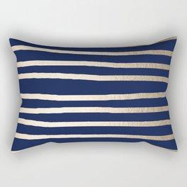 Drawn Stripes White Gold Sands on Nautical Navy Blue Rectangular Pillow