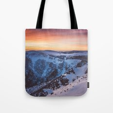Sunset over the mountains Tote Bag