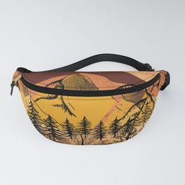 Organic Textured Collage of Trees, Mountains and Moon Fanny Pack