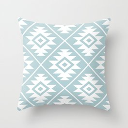 Aztec Symbol Ptn White on Duck Egg Blue Throw Pillow