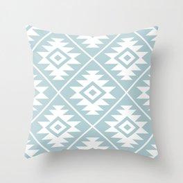 Aztec Symbol Ptn White on Duck Egg Blue Throw Pillow
