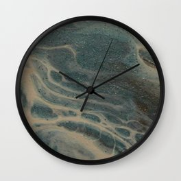 White Rivers, Acrylic Pour Wall Clock
