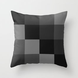 Four Shades of Black Square Throw Pillow
