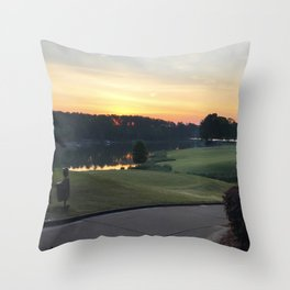 Golfing the Lake Throw Pillow