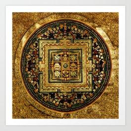 Gold Buddhist Psychedelic Mandala Art Print