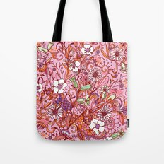 Daisy and Bellflower pattern, pink Tote Bag