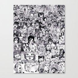 1000 Ahegao Black and White Canvas Print