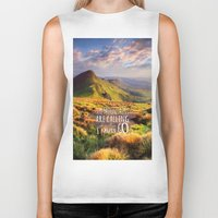 the mountains are calling Biker Tanks featuring Mountains Are Calling Travel Adventure by Rainbow Rules