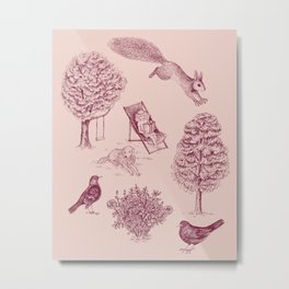 A Girl Reading in the Garden (Pink and Plum) Metal Print