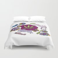 cannabis Duvet Covers featuring Cannabis Bunnies by Ri 13