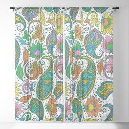 Colorful trial paisley pattern on white Sheer Curtain