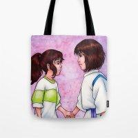 chihiro Tote Bags featuring Chihiro and Haku by Kimberly Castello