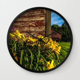 Yellow Flowers - Red Barn Wall Clock