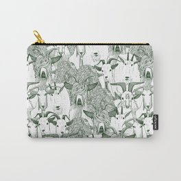 just goats dark green Carry-All Pouch