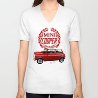 mini cooper V-neck T-shirts featuring Classic Mini Cooper by car2oonz