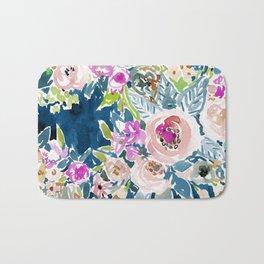NAVY SO LUSCIOUS Colorful Watercolor Floral Bath Mat