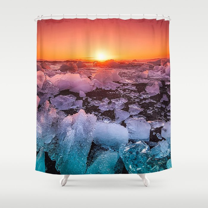Ice of Antarctica's Sunset Shower Curtain