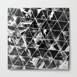 Geometric Whispers - Abstract, black and white triangular, geometric pattern Metal Print