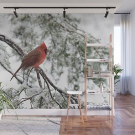 Wet Snow Cardinal (vertical) Wall Mural