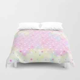 Moon Bunny Rainbow Pastel Duvet Cover