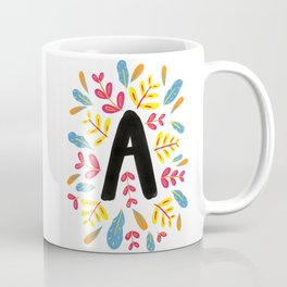 Letter 'A' Initial/Monogram With Bright Leafy Border Coffee Mug