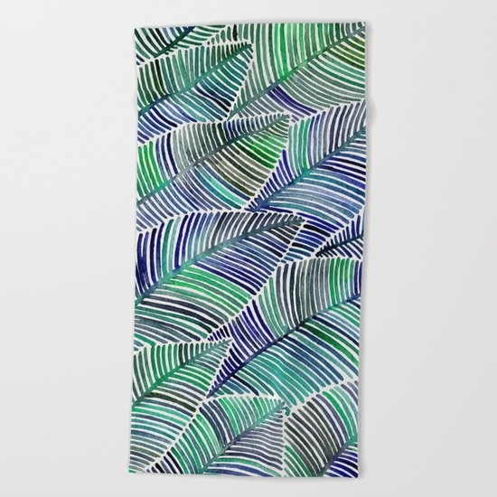 Tropical Leaves – Blue/Green Palette Beach Towel