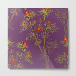 Vintage florals - Pheasant's Eye Metal Print