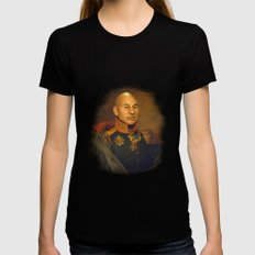 Sir Patrick Stewart - replaceface Black Womens Fitted Tee MEDIUM
