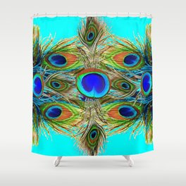 TURQUOISE  BLUE-GREEN PEACOCK EYE  FEATHERS Shower Curtain