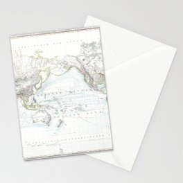 World map wall art 1856 dorm decor mappemonde from dutch Stationery Cards