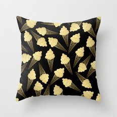 Faux Gold Leaf  Ice Cream Cones on Black Throw Pillow
