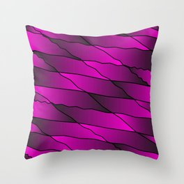 Slanting repetitive lines and rhombuses on iridescent pink with intersection of glare. Throw Pillow