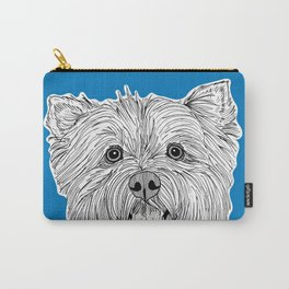 West Highland Terrier Dog Portrait ( blue background ) Carry-All Pouch