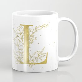 Letter L Gold Monogram / Initial Botanical Illustration Coffee Mug