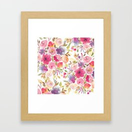 Patterened Pink Florals Framed Art Print