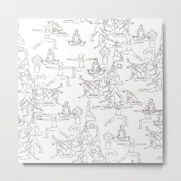 Yoga Asanas black on white Metal Print