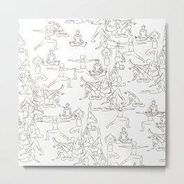 Yoga Asanas black on white Metal Print