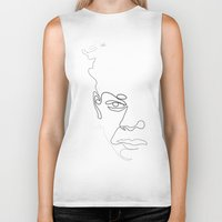 quibe Biker Tanks featuring Half-a-Basquiat: One line by quibe