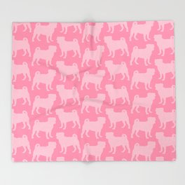 Pastel Pink Pugs Pattern Throw Blanket