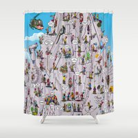 climbing Shower Curtains featuring Bubble climbing by Caiocomix