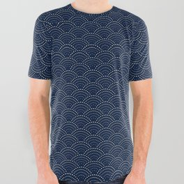 Japanese Blue Wave Seigaiha Indigo Super Moon Pattern All Over Graphic Tee