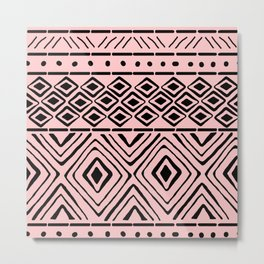 African Mud Cloth // Pink Metal Print