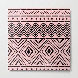 African Mud Cloth // Pink Metal Print