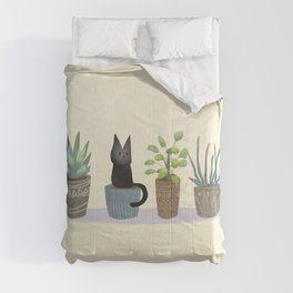 Three succulents and one kitten Comforters