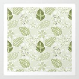 Olive Green Tropical Leaf Floral Pattern Art Print