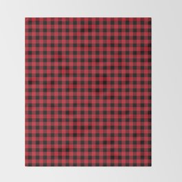 Winter red and black plaid christmas gifts minimal pattern plaids checked Throw Blanket