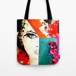 Painting - Model, Abstract, Red & Turquoise Tote Bag