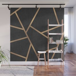 Dark Grey and Gold Textured Fragments - Geometric Design Wall Mural